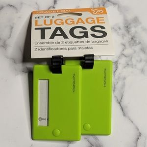 Travelon Neon Green Luggage Tags Easy to Find NEW